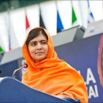 Malala Yousafzaï was praised for her courage fighting for girls' right to education as she accepted the 2013 Sakharov Prize for Freedom of Thought during a ceremony in Strasbourg. (Photo by European Parliament)