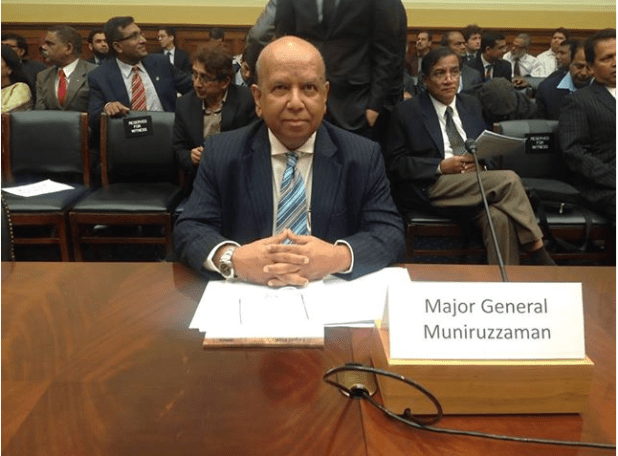 President BIPSS, Major General Muniruzzaman (Retd). testified at the Congressional hearing on Bangladesh on 20 November 2013. (Courtesy BIPSS)