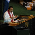President Mahinda Rajapaksa addressing the United Nations General Assembly. (Photo via President Mahinda Rajapaksa's office)