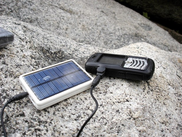 Solar phone charger. (Photo by deartistzwei, Creative Commons License)
