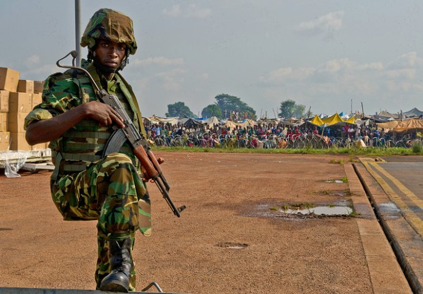A Burundi soldier posts security at the Bangui Airport, Central African Republic (CAR). (Photo by US Army Africa, Creative Commons License)