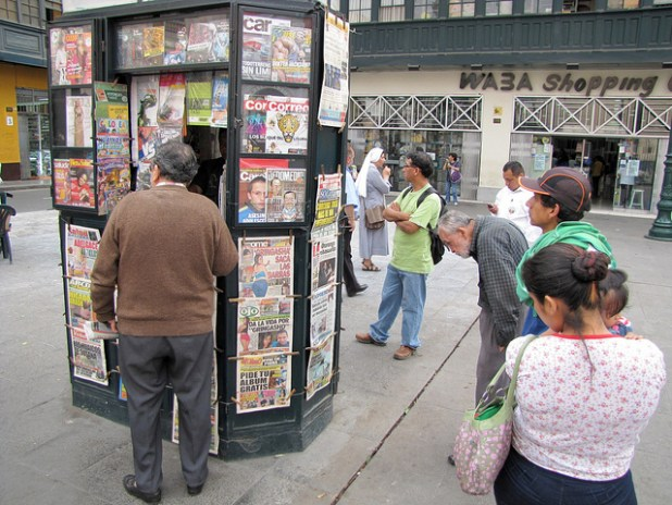 A news stand in Lima, Peru's capital city. (Photo by cordelia_persen, Creative Commons License)