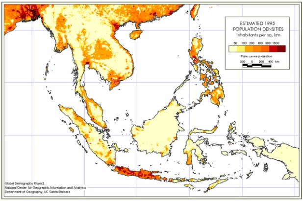 Population density in Southeast Asia. (Photo by Jeff McNeill, Creative Commons License)