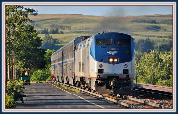The westbound Empire Builder arriving at East Glacier Station in Montana. (Photo by Loco Steve, Creative Commons License)