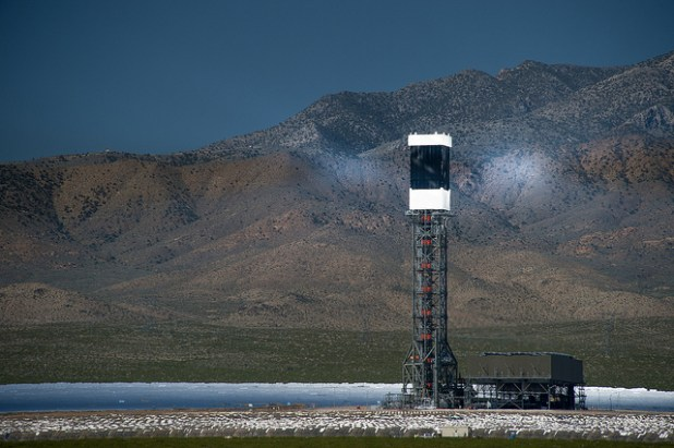 The Ivanpah  solar power project is located in the California Mojave Desert, 40 miles southwest of Las Vegas. (Photo by howardignatius, Creative Commons License)