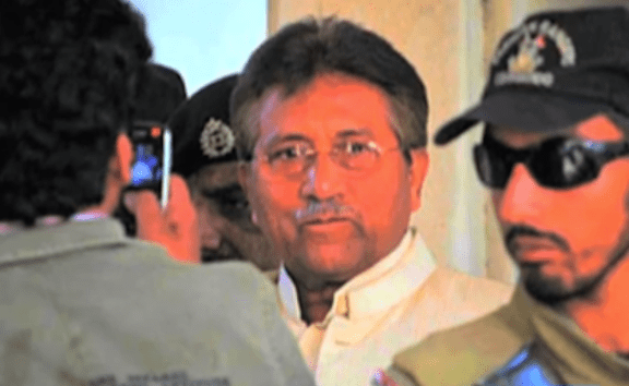 General Pervez Musharraf coming for a court appearance in Islamabad. (Photo via video stream)