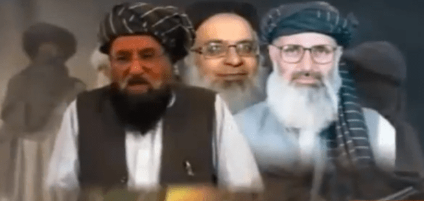 Members of a team of Pakistani clerics representing Taliban. (From L to R) Maulana Samiul Haq, Professor Mohammad Ibrahim. (Photo via Express TV footage)