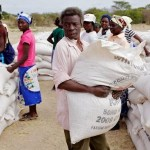 ICRC distributes maize to farmers in Zimbabwe's Fuchira region affected by drought. (Photo by Olivier Moeckli via ICRC)