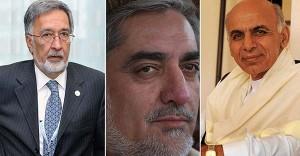 (From L to R) Afghan presidential candidates Zalmai Rasoul, Abdullah Abdullah and Asraf Ghani.