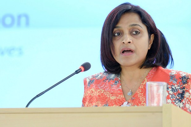 Maldivian Foriegn Minister Dunya Mamoun says her country may consider lifting the ban if the Israeli government's violation of international resolutions stop. (Photo by UN Geneva, Creative Commons License)