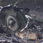 The engine of the downed Malaysian airliner flight MH17. (Photo via videostream)
