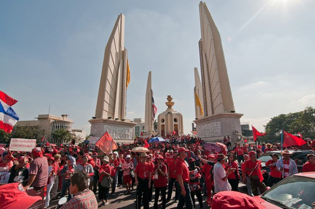 Bangkok's Democracy Monument has remained scene of pro-democracy protests. (Photo by Ratchaprasong, Creative Commons License)