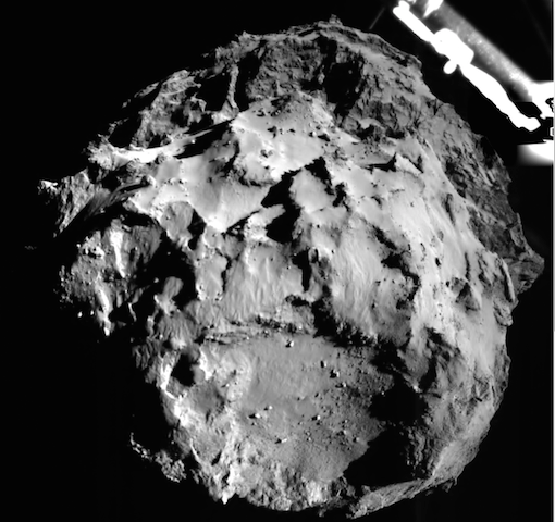 Philae's first view of the comet. (Photo by ESA/ROLIS/Philae, via The Conversation)