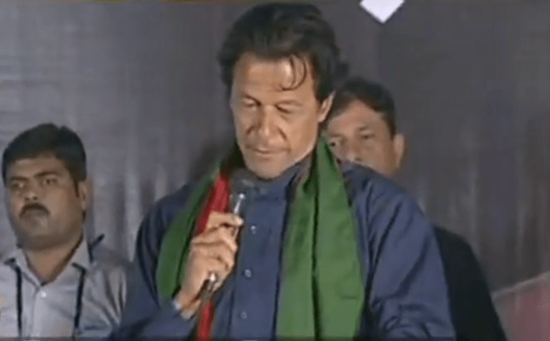 Pakistan's opposition leader Imran Khan addresses his supporters in Islamabad.