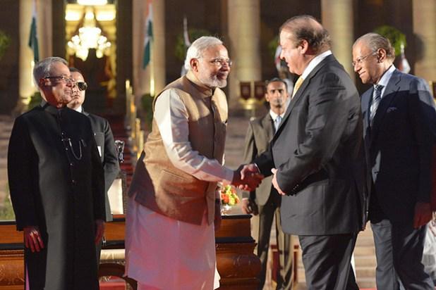 Narendra Modi shares emotive conversation with Pakistan Prime Minister Nawaz Sharif. (Photo via Prime Minister Narendra Modi's office)