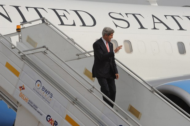 File photo of Secretary of State John Kerry arriving in New Delhi during his visit to India in June 2013. (State Department photo/ Public Domain, Creative Commons License)