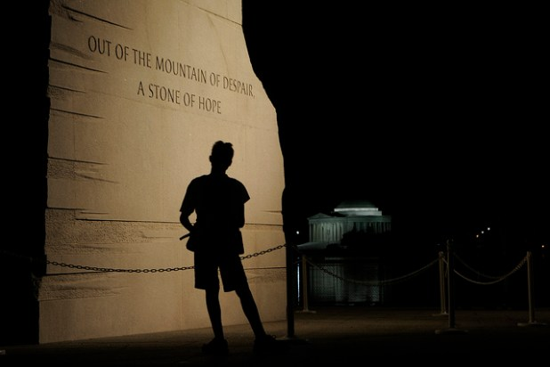 Martin Luther King Jr Memorial at night in Washington, DC.  (Photo by Scott Ableman, Creative Commons License)