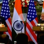 President Obama and Prime Minister Narendra Modi addressing a press conference in New Delhi after formal talks. (Photo via video stream)