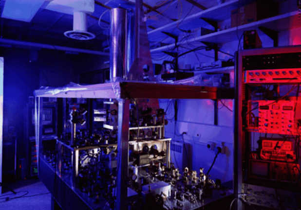 NIST-F1 Cesium fountain atomic clock, serving as the US time and frequency standard, with an uncertainty of 5.10-16.  (NIST, Photo via The Conversation)