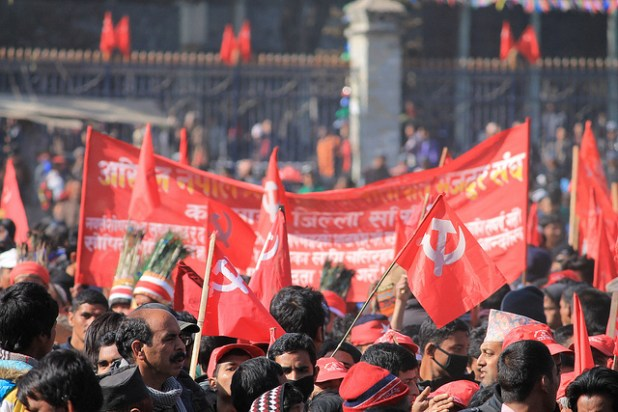 Supporters of Communist Party of Nepal-Maoist at a rally in Kathmandu. (Photo by Natalio Pérez, CC license)