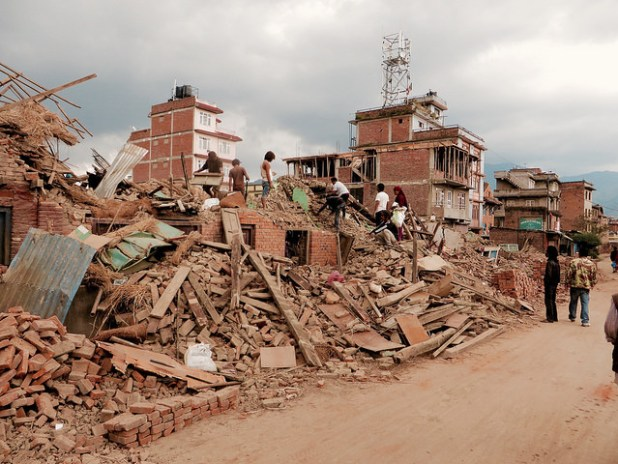 A glimpse of devastation in Nepal after the April 25 devastating earthquake. (Photo by SIM Central and South East Asia, Creative Commons License)