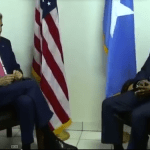 Secretary of State John Kerry met Somalia's President Hassan Sheikh Mohamud during his visit to Somalia. (Photo via video feed)
