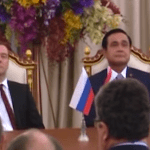 Russian Prime Minister Dmitry Medvedev with his  Thai counterpart Prayut Chan-o-cha  during his visit to Thailand. (Photo via video stream)