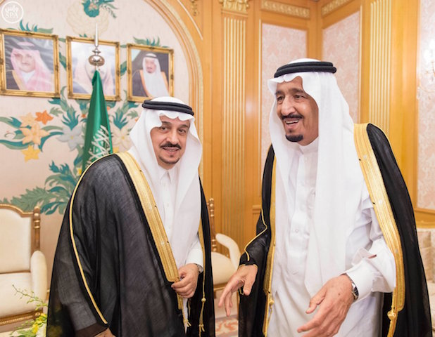 King Salman bin Abdulaziz Al Saud receives governors of regions in the Kingdom of Saudi Arabia on the occasion of their 22nd annual meeting. (Photo courtesy SPA)