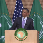 President Barack Obama addressing at the African Union  headquarters.