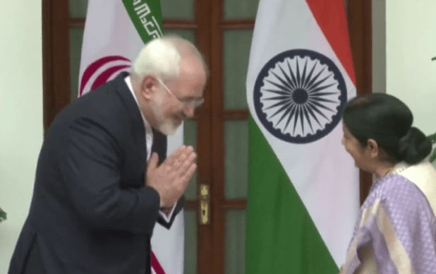 Iranian Foreign Minister Mohammad Javad Zarif with his Indian counterpart Sushma Swaraj ahead of a meeting in New Delhi during his recent India yatra. (Photo via video stream)