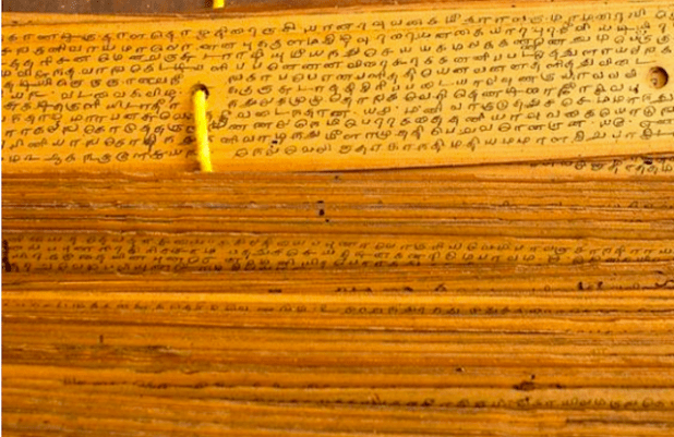 Palm leaf manuscripts at a library in Chennai. Scholars like V. S. Pathak and Romila Thapar have established that ancient India drew its sense of the past from a vast range of sources, of which religious texts were one. (Photo via The Hindu)