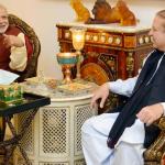 Prime Minister Narendra Modi meeting his Pakistani counterpart Nawaz Sharif during his visit to Lahore December 25. (Photo via PID, Pakistan)