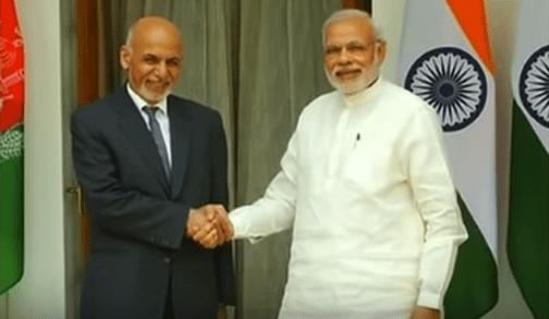 Afghan President Ashraf Ghani with Indian Prime Minister Narendra Modi.
