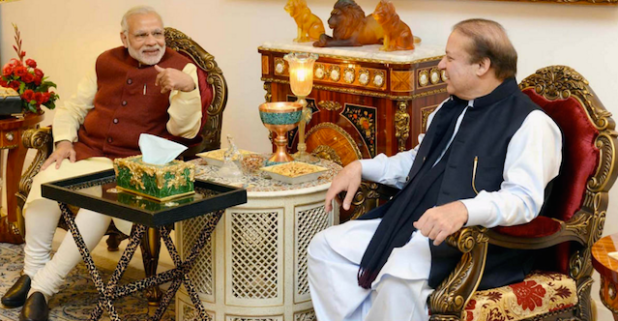 Indian Prime Minister Narendra Modi with his Pakistani counterpart Nawaz Sharif during his stopover in Lahore on March 25.