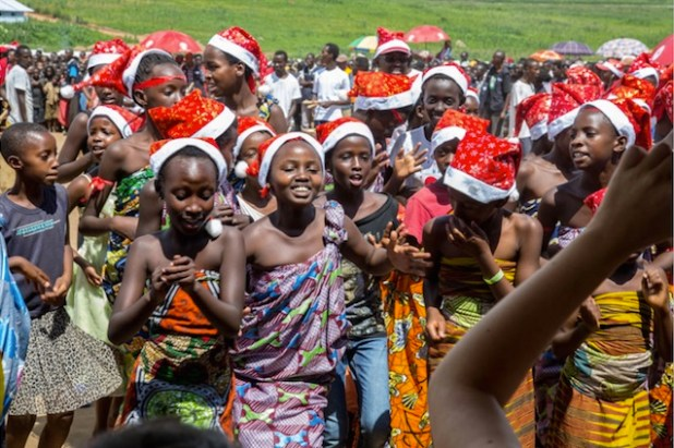 Young Burundian refugees at Mahama Refugee Camp celebrate the festive season with music, dance and drama last year. (File photo via The New Times)