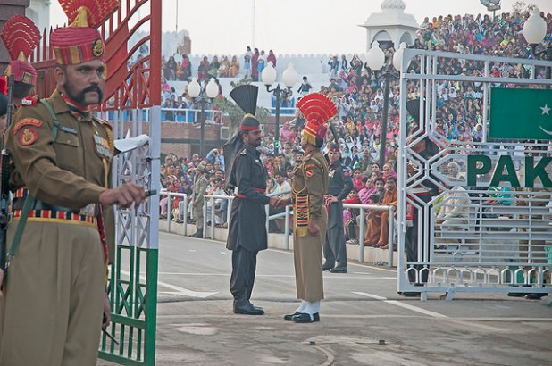 India Pakistan border at Wagah. (Photo by Koshy Koshy, Creative Commons License)