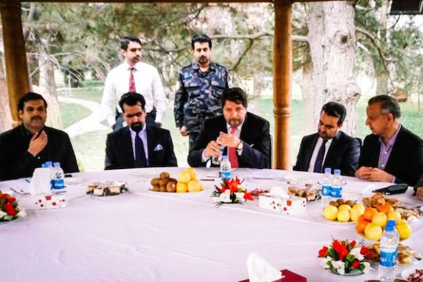(Third from right) Afghanistan's Deputy Foreign Minister Hikmat Karzai speaking to mediamen in Kabul. (Photo by Imtiaz Gul)