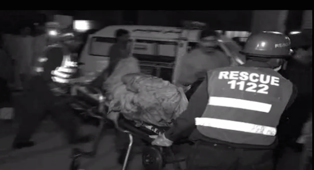 Rescue teams evacuating the victims of Lahore terror attack on March 27. (Photo via video stream)