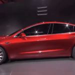 Tesla Model 3. (Photo via video stream)