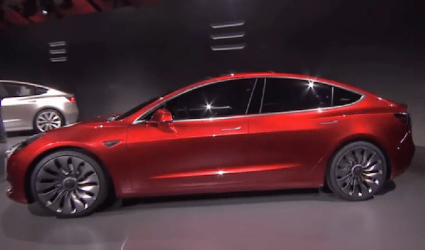 Tesla Model 3. (Photo via video stream)