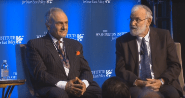 Former Saudi intelligence chief Prince Turki bin Faisal and retired Israeli Major General Yaakov Amidror together at a Washington event hosted by The Washington Institute for Near East Policy. (Photo: Youtube/FPIF)