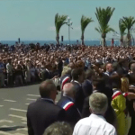 A view of a vigil for the victims of Nice terrorism attack in Nice. (Photo via video stream)