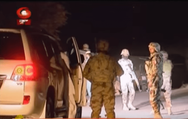 Pakistan Army soldiers check vehicles in Quetta after terrorists killed 61 people in an attack on a police training school on Oct. 24. (Photo via video stream)