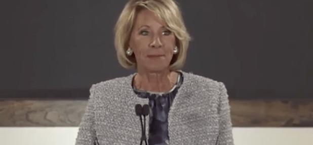 Education Secretary-designate Betsy DeVos speaks in Grand Rapids, Michigan. (Photo via video stream)