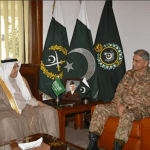 Saudi Ambassador to Pakistan Abdullah Marzouk Al Zahrani meeting Pakistan's army chief General Asif Qamar Bajwa. (Courtesy ISPR)