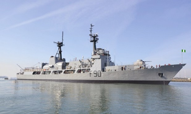 Nigerian Navy's NNS THUNDER. Nigeria has deployed a warship off Gambia's cost.