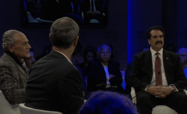 General Raheel Sharif at a panel in Davos during the World Economic Forum meeting. (Photo via video stream)
