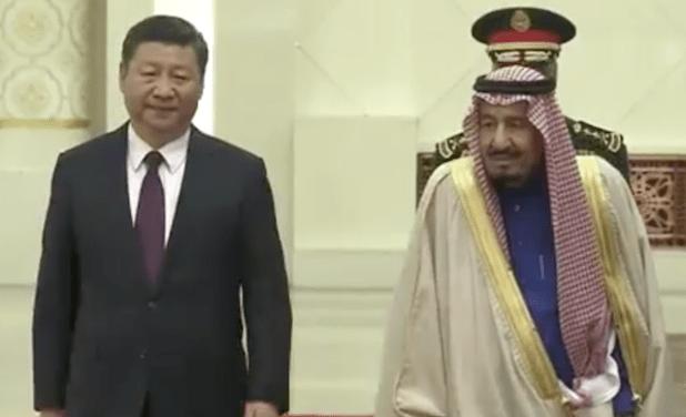 Chinese President Xi Jinping and Saudi Arabian King Salman bin Abdulaziz ahead of their meeting in Beijing on March 17, 2017. (Photo via video stream)