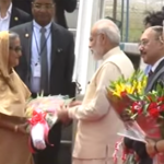 Prime Minister Sheikh Hasina Wajid being received by her Indian counterpart Narendra Modi upon her arrival in New Delhi on a four-day visit on April 7. (Photo via video stream)
