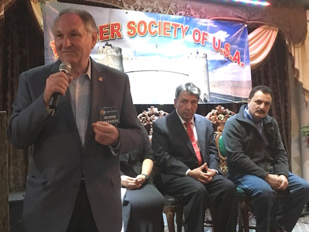 Comptroller George Maragos addressing a reception of Khyber Society in Hempstead, Long Island on April 22.